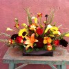 Sunset Lilies, Sunflowers, Calla lilies, Freesia, Dahlias, Rosemary, Roses, Mums